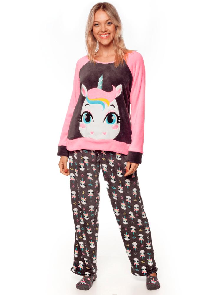 57b92cb8c5 Pijama Manga Longa Soft Unicórnio Adulto - puket
