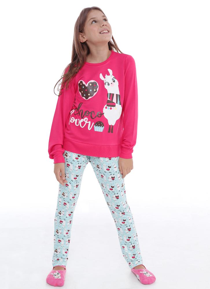 Pijama-Manga-Longa-Visco-Lhama-Choco-Teen