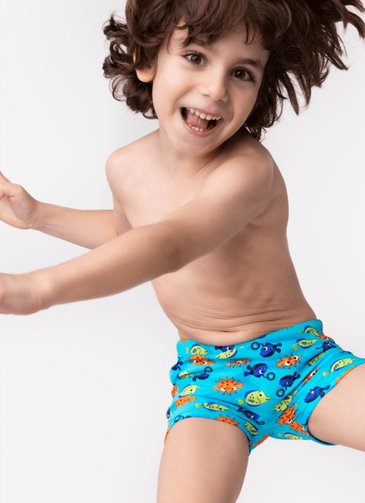 Sunga Boxer Kids Peixes Azul