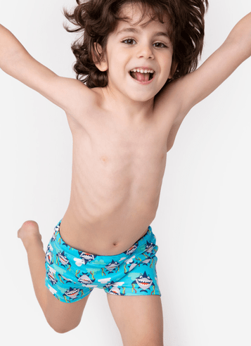 Sunga Boxer Kids Tubarão Azul