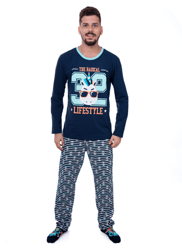 Pijama Manga Longa Unicórnio Adulto Azul