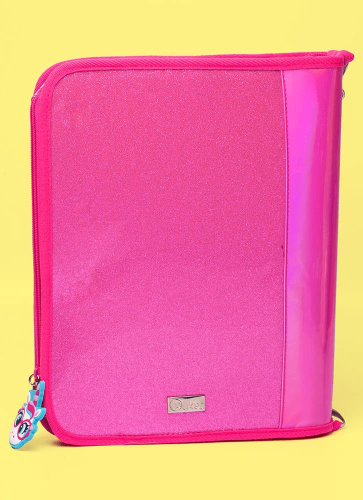 Fichário Glitter Rosa Unicórnio