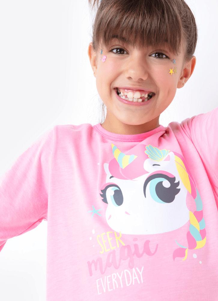 Pijama Manga Longa Menina Unicórnio Rosa e Azul