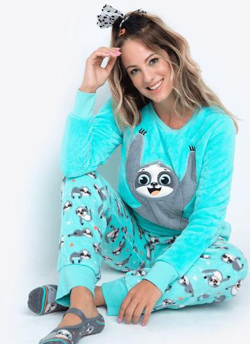 Pijama-Longo-Soft-Adulto-Preguica-