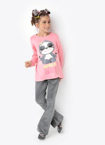 Pijama Manga Longa Plush Preguiça Teen