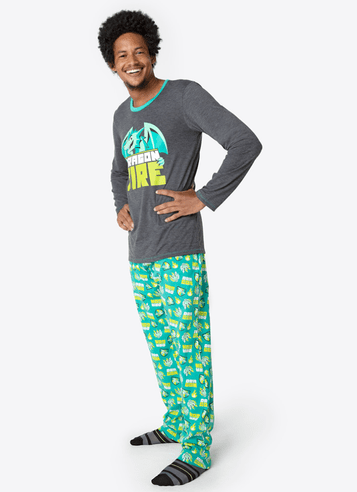 Pijama Longo Algodão Adulto Dragão