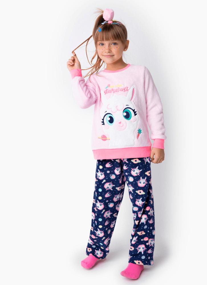 Pijama Menina Manga Longa Soft Lhama