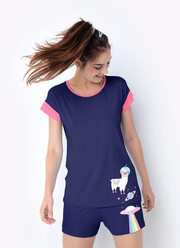 Pijama-Manga-Curta-Viscolycra-Adulto-Lhama