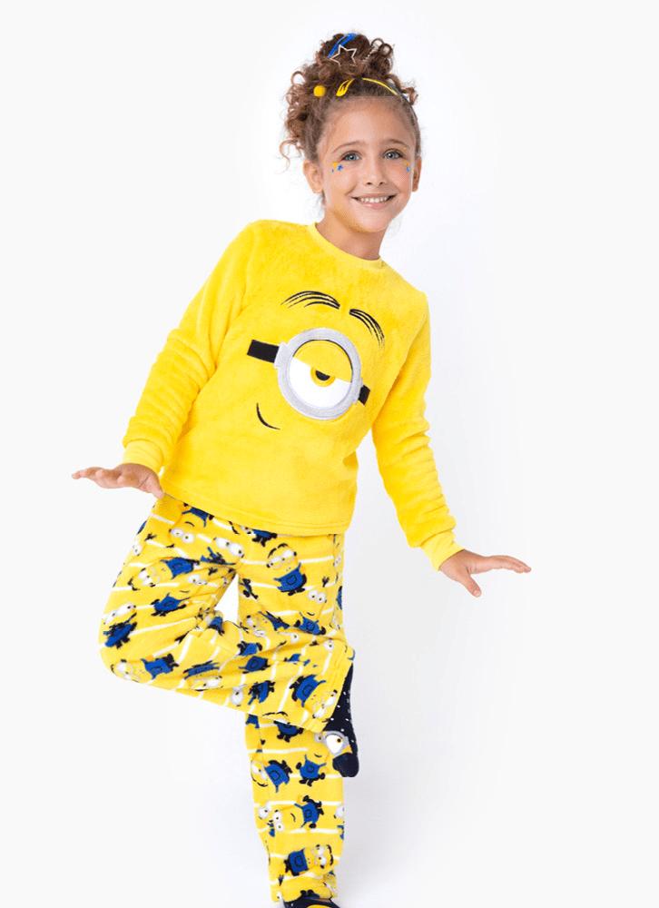 Pijama Manga Longa Menina Teen Soft Minions