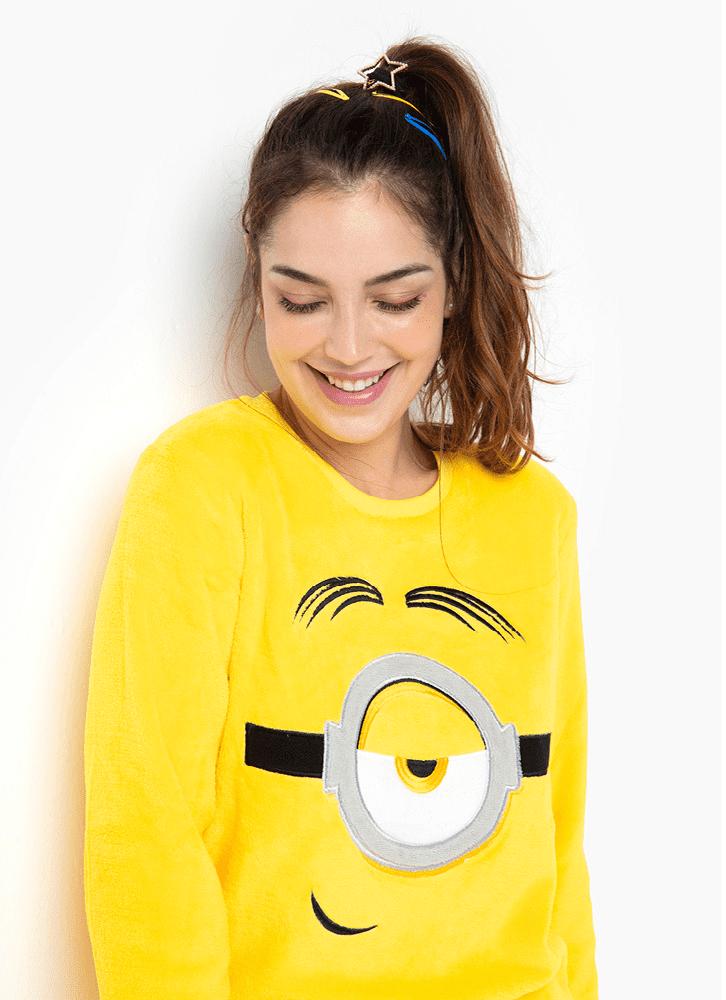 Pijama Manga Longa Feminino Soft Minions