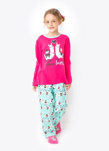 Pijama Manga Longa Menina Lhama