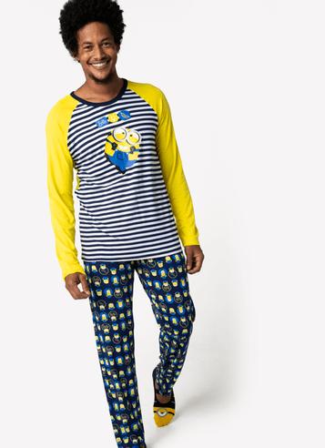 Pijama Manga Longa Viscolycra Masculino Minions