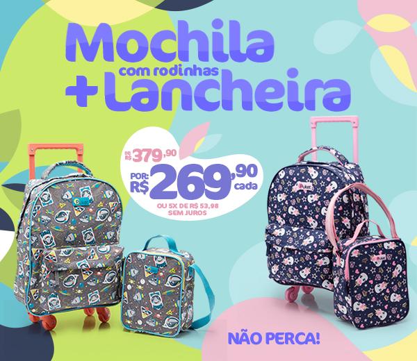 Banner A: Mochila com Rodinhas + Lancheiras por 269,90
