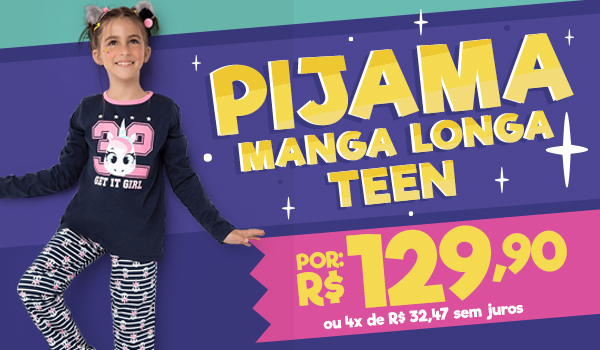 Banner B: Pijama manga longa Teen de 149,90 por 129,90
