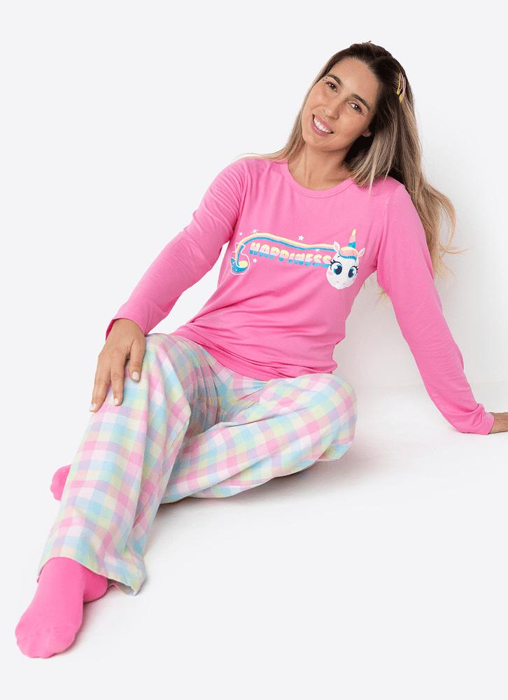 Pijama Feminino Manga Longa Flanela Unicórnio
