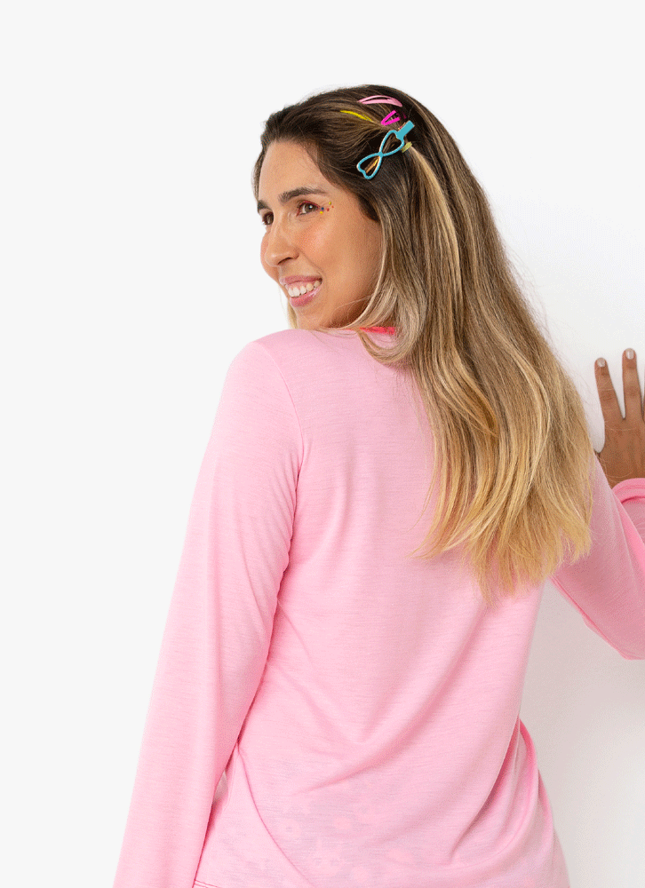 Pijama Manga Longa Feminino Lhama