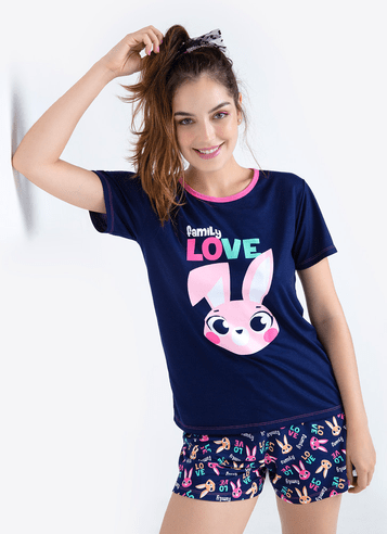 Pijama Manga Curta Viscolycra Feminino Coelho
