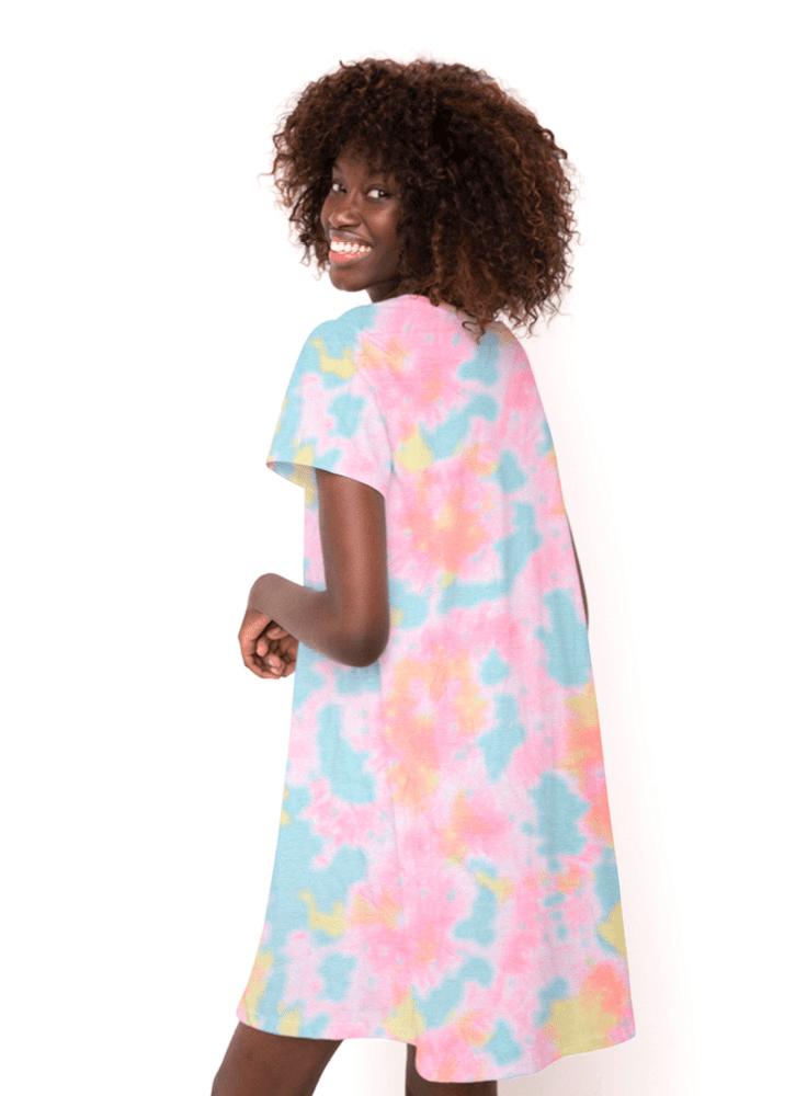 Camisola Manga Curta Viscolycra Feminino Tie Dye