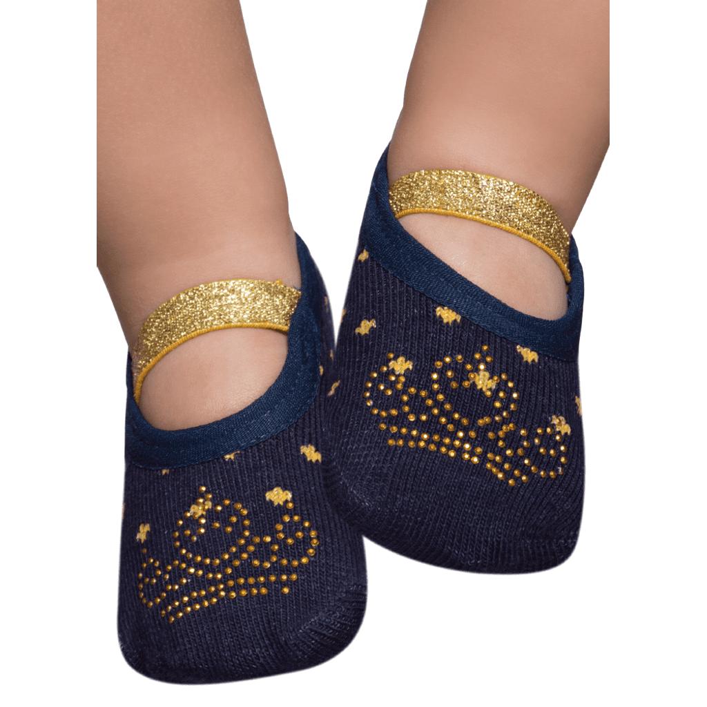 Meia Sapatilha Azul e Dourada com Aplique