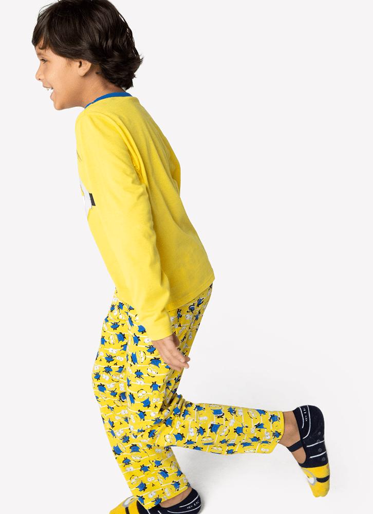 Pijama Manga Longa Menino Minions Amarelo