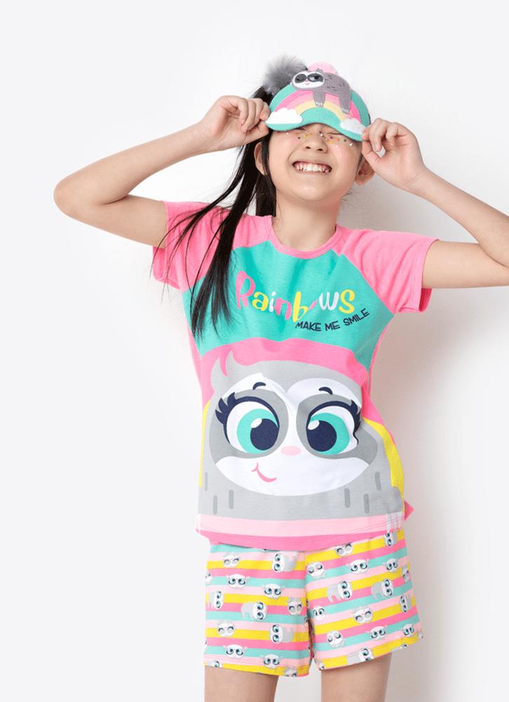 Pijama Manga Curta Viscolycra Menina Preguiça Colorido