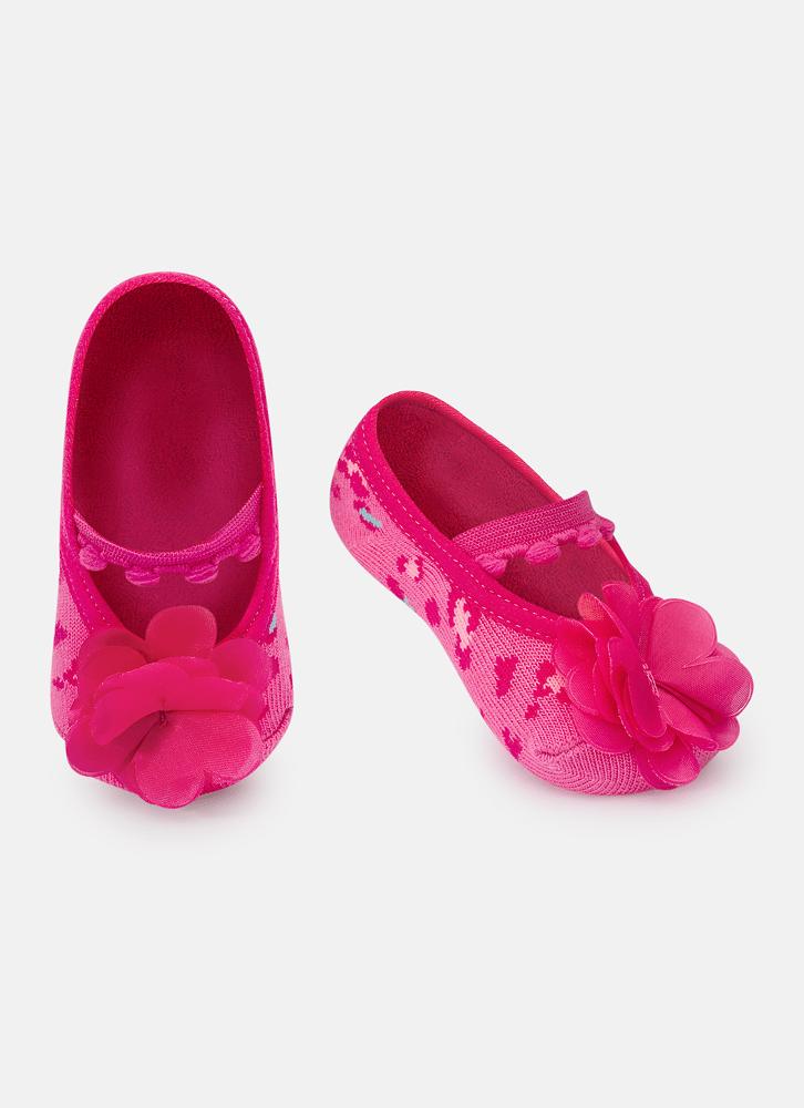 Meia Sapatilha Aplique Colorida Rosa